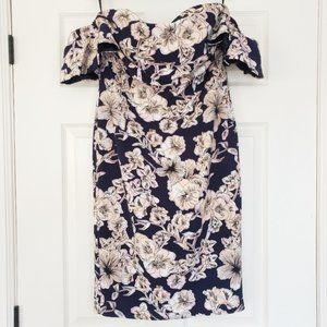 Bardot blue floral off the shoulder dress